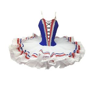 Traje clássico do traje do bailado do pássaro do azul de marinha profissional Tutu do balé Esmeralda Chamas adultas do tutu da panqueca do desempenho de Paris para meninas