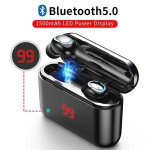 Kablosuz Bluetooth Kulaklık yükseltilmiş sürümü Yeni HbQ S32 Mic Mini kulaklıklarla TWS Gerçek Kablosuz Kulaklık Bluetooth 5.0 Kulaklık LED Display