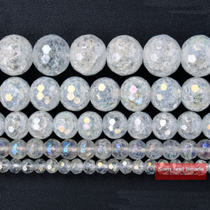 "Wholesale Natural Stone Faceted Rainbow Plated White Cracked Quartz Crystals  For Jewelry Making Strand 16"" FWCQ9"