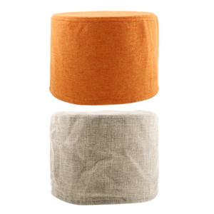 Ein Paar (2 Stück) Anti-Skid-Fußbank Cover, super bequeme Runde Hocker Cover, Rundsitz Husse aus Baumwolle Leinen 28x18cm