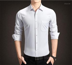 Дизайнер одежды Рубашки мужские Обычная длина Pure Color Tops Homme Turn Down Воротник с длинным рукавом Рубашки Mens