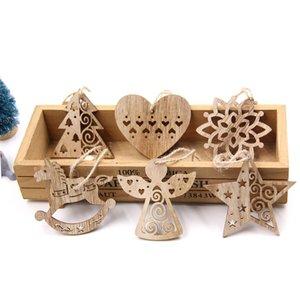 6PCS European Hollow Christmas Snowflakes Pendenti in legno Ornamenti per Xmas Tree Ornament Decorazioni per feste di Natale Regalo per bambini