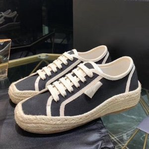 women designer canvas shoes Linen Comfortable canvas sneakers black lace-up women sandals fashion shoes Plate-forme Schuhe