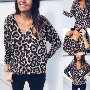 Femme col V Sweat-shirt à manches longues Pull imprimé léopard Tops Chemisier T-shirt
