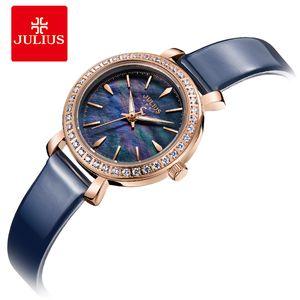 Julius New Designer Montre coréenne élégant montres de cristal pour les femmes bleu robe moderne Horloge du Japon ont fait mouvement JA-heure Montrésor 1079