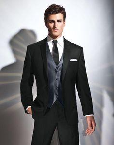الرجال البدلة العريس الزفاف سهرة 2021 الدعاوى السوداء لارتداء الرسمي سترة عالية الجودة + بانت