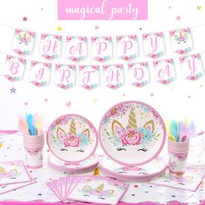 Unicórnio mágico Party Supplies Pink Rose Unicorn tema do aniversário do partido Detalhes no set para meninas do aniversário placas de banner copos chapéus tablewares