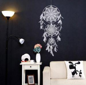 Wind Chimes Handmade Nordic Dream Catcher Net mit Federn Wandbehang Traumfänger Craft Hochzeits-Geschenk-Hauptdekoration Hochzeit LSK183