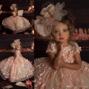 2020 꽃잎 전원 핑크 소녀 Pagenat 드레스 공주 크루 넥 3D 레이스 아플리케 캡 슬리브 롱 정장 꽃의 소녀 드레스