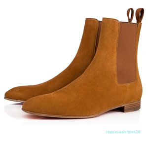 Super Quality Red Bottom Roadie Flat For Men Ankle Boots Design Comfortable Genuine Leather Perfect Party Dress Wedding Walking EU38-47 t16