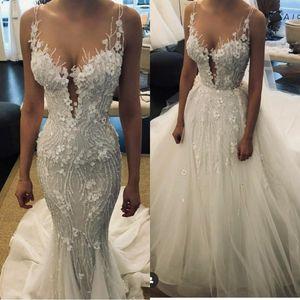 2020 belles robes de mariée sirène pure dentelle 3D Applique avec détachable train robes de mariée dos nu main fait main robe de mariée perlée