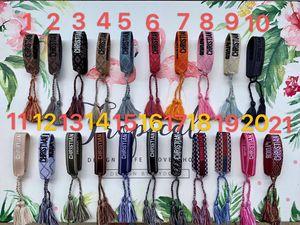 Kadınların hediye için dikiş kelime ve püskül el kayışı ünlü marka takı ile ambalaj 2019 stil halat malzemesi dokunmuş bilezik ile DIB0