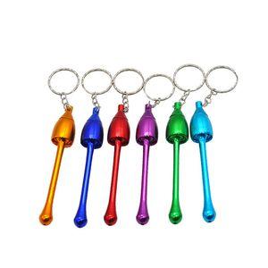 Großhandel bunte billige Aluminium Mini Keychain Pilz Tabakpfeife protable Metall raucht Hand Rohre frei einkaufen