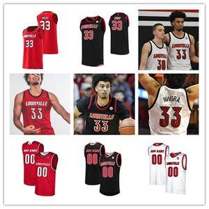 Personalizada Baloncesto Jersey Louisville Cardinals # 33 Jorda Nwora Samuell Williamson Aidan Igiehon Steven Enoc Ryan McMahon Louisville Jersey