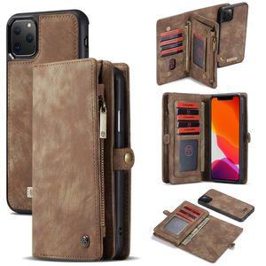 Capa de couro da aleta para o iPhone XS Max XR X iPhone Pro Max Cartão Zipper Wallet removível Bolsa de protecção à prova de choque 7 8 Plus 11