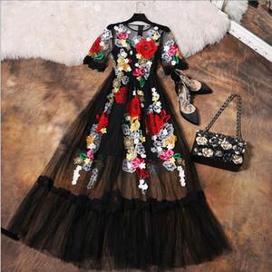Lüks Elbise Yeni 2018 Yaz Moda Tasarımcısı Yeni Zarif Çiçek Nakış Aplikler Siyah Örgü Ince Kadın Bağbozumu Uzun Elbise Y19051102