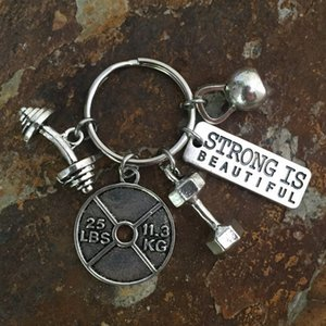 Nova Antiga prata Dumbbell Barbell Kettlebell Strong Is Beautiful Tag Carta Charme Keychain Fé aptidão criativa Designer Chaveiro Jóias