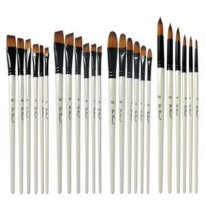 24pcs / set Nylon óleo de cabelo Escova Pen Set punho de madeira Aquarela pintura acrílica Art Brushes para Artistas Pintores Iniciantes