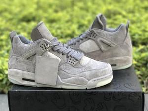 4 Zapatos frescos para hombre gris 4s Los diseñadores de baloncesto brilla en la oscuridad KAWS x 4 Enfriar Negro Gris frío Calzado deportivo edhj