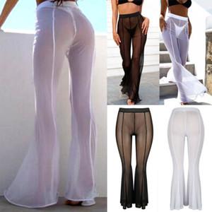 Seksi Kadınlar bakınız Pantolon Yeni Yaz Lady Mesh Şeffaf Bikini Cover Up Geniş Bacak Pantolon Flared Pantolon S-XL sayesinde