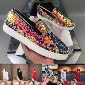 тройного S Дизайнер кроссовок Red Bottom Low Cut Шипы Квартира обувь для мужчин, женщины кожаных кроссовок повседневной обуви с пылевым мешком с коробкой