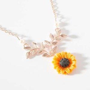 2019 de la moda collar pendiente del encanto de la alta calidad de las mujeres hoja de Rose girasol Oro Rama encanto del collar largo pendiente del collar regalos M280Y