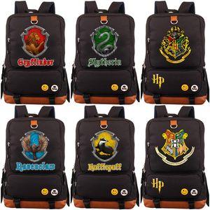Nueva Hufflepuff Slytherin Gryffindor Boy School Girl Bolsas para mujeres adolescentes Bagpack Schoolbags lona de los hombres de Estudiantes Mochila Packsack