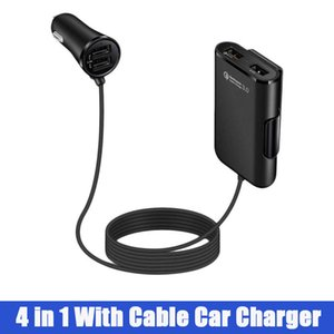 Adaptateur de chargeur de voiture USB à 4 ports à l'avant et à l'arrière avec rallonge de 6 pieds 4 en 1 chargeur de portable pour téléphone portable