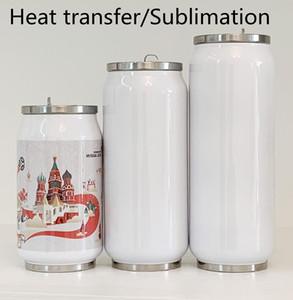 Bricolage Sublimation Cola thermos bouteille peut d'eau à double paroi en acier inoxydable gobelet vide isolé avec couvercle blanc