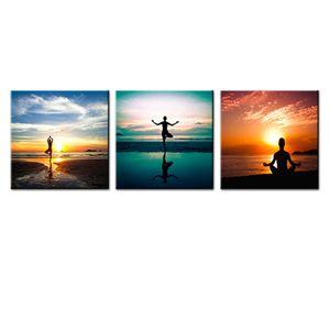 3 Панели Приморская роспись Paint Do Explise Yoga на пляже Фотография Prints Canvas Wall Art для ванной комнаты Украшение дома натянутые и обрамленные подарки