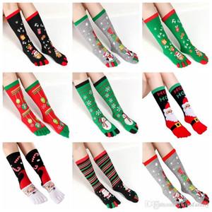 Navidad Calcetines de Navidad Toe Medias de cinco dedos de la rodilla alta calcetines de dibujos animados divertido largo calcetería 3D Impreso Tobillera muñeco de nieve Calcetines DYP6477