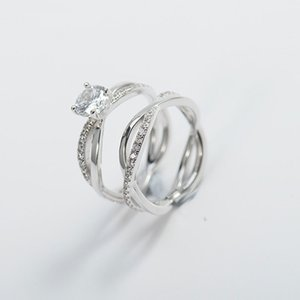 Düğün Parmak Yüzük Zirkon Çiftler için% 100 Gerçek 925 Gümüş Yüzük Seti Kadın Fine Jewelry 2 PCS YMR473 için ayarlar
