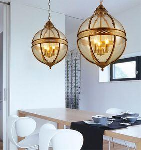 Vintage Loft Globe Luces colgantes Hierro forjado Vidrio Sombra Lámpara redonda Cocina Comedor Bar Mesa Luminaria Accesorio Lámparas colgantes