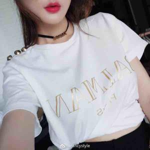 215848 # T-shirt da donna di alta qualità a maniche corte T-shirt e T-shirt stampate da celebrità con lo stesso paragrafo