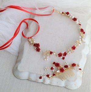 Dower me Acessórios floral vermelho cabelo nupcial Headband do casamento do ouro Comb cabelo Acessórios Mulheres Prom Headpiece T191026 Jóias