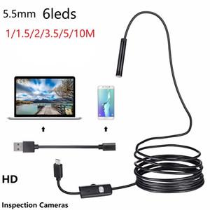 و 5.5mm عدسة المنظار USB مرنة الأفعى ماء HD 6LEDS التفتيش الأنابيب كاميرا Borescope التنظير للحصول على الروبوت الهاتف PC سيارات