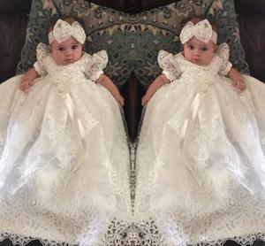 2019 Dantel Çiçek Kız Elbise Jewel Boyun Şerit Dantelli Kısa Kollu Fermuar Kızlar Abiye Communion Elbise Fildişi Organze Bebek Kız Elbiseler