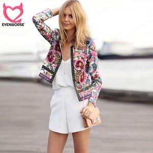 outwear giacca corta donne Evenworse stampato floreale manica lunga retrò bombardiere estate autunno streetwear punto aperto
