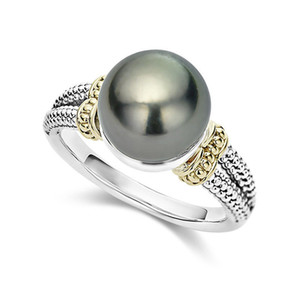 2019 Hot Sale Simple Stylish S925 Sterling Silver Rings Grey Imitation Pearl Ring For Female Engagement Wedding Jewelry Gifts