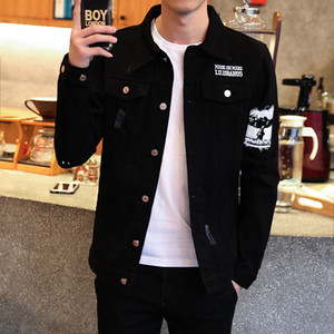 Hommes Printemps Harajuku Ripped Demin Vestes Homme Noir Streetwear Casual Coat Slim Denim Homme Veste coupe-vent Bomber cothes