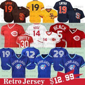 19 José Bautista Jersey 20 Josh Donaldson Rojos 29 Joe Carter Roberto Alomar 14 Pete Rose, Tony Gwynn Johnny Benc jerseys del béisbol
