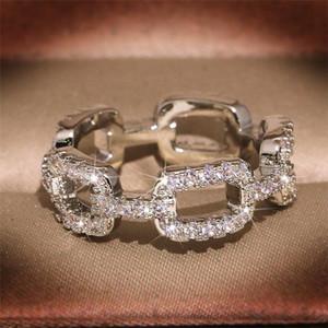 INS Top Selling Hop Hop Vintage Joyería de moda 925 Sterling Silver Cross Ring Pave White Sapphire CZ Diamond Women Finger Anillo Regalo