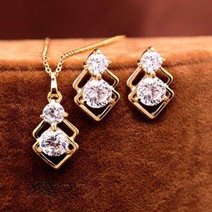 Bijoux de mariage élégant de cristal pour les femmes africaines Ensembles Or Couleur double couche Pendentif carré Collier Parti Boucle d'oreilles