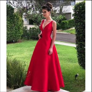 2021 rouge des robes de bal col en V Une ligne longue soirée Party robes de soirée