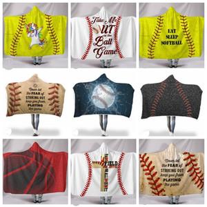 Cobertor Adulto Basquete Esportes Sherpa Baseball Hooded Jogo de Softball Jogo Crianças Bathrobe Soft Dhw2879 Impresso 24 Designs Blanke CDCT