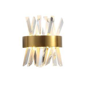 Post Modern Kristal Duvar Işıkları Oturma Odası Için Lüks Paslanmaz Çelik Cristal Duvar Lambası Kristal Aydınlatma Yatak Odası Aydınlatma
