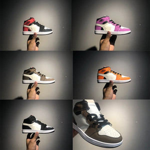 air jordan 1 Travis Scott Neugeborenes Baby Reverse Swooshes Sneakers Kleinkinder Schuhe Kleinkinder Basketball Schuhe Kleinkinder I großer Junge Mädchen Sneaker