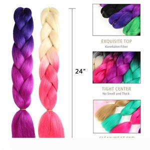 A 24 Inch Jumbo Braiding Hair Extensions High Temperature Kanekalon Synthetic Ombre Twist Hair Multiple Three Tone Colored Braiding Hai