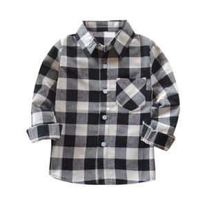 modis clothes Kids Boys Girls Long Sleeve Cotton Shirt Checks Tops Blouse Clothes Outfits shein kids boys shirts hot #06
