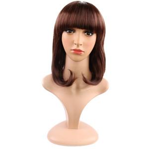 Peluca para el cabello Cabello corto y recto BOBO Cabeza de la cabeza entera de la cubierta de seda natural de alta temperatura Cabello